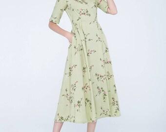 flower dress, tea length dress, prom dress, party dress, boho dress, wedding dress, designer dress, romantic dress, custom made dress 1743