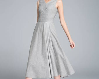 grey dress, linen dress, pleated dress, sleeveless dress, summer dress, midi dress, V neck dress, block color dress, casual dress  1761