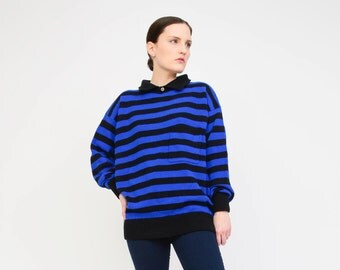 Vintage 80s Striped Sweater - Collared Pullover GAP Polo Top - Wool Jumper - 1990s UNISEX Sweater - Blue Black Medium Large M L