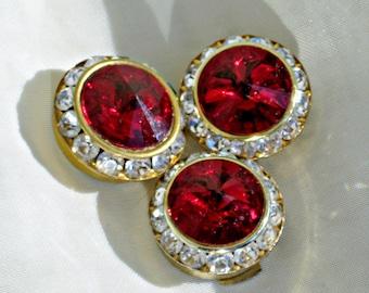3 Rhinestone Button Covers Dark Red Rivoli White Crystal 3/4 inch