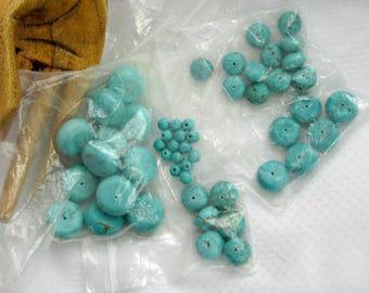 52 Faux Turquoise Bead Lot Opaque Aqua Glass Ascending Decending Sizes