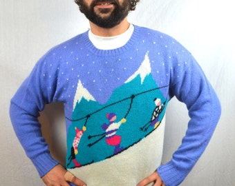 Vintage 80s 1980s Cute Wool Ski Sweater - Robert Scott