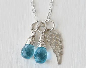 Loss of Twin Boys Necklace / Twin Boys Baby Loss Jewelry / Blue Gemstone with Silver Angel Wing / Miscarriage Sympathy Gifts