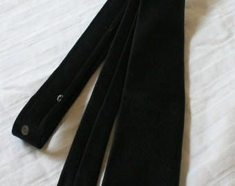 1950s custom made skinny black necktie with phone handset and rotary dial