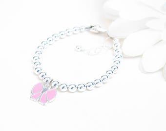 Silver Baby Bracelet // Baby Bracelet // Baby Girl Bracelet // Silver Beaded Bracelet // Bow Bracelet