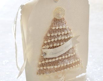 RESERVED ~ Christmas Tree Gift Tag, Burlap Christmas Tree Gift Tag, Cottage Chic Christmas Gift Tag