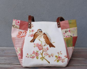 Woodland Love Birds Bag - Vintage Embroidery, Pink Blossoms, Sparrow, Patchwork and Leather Bag.