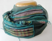 Mossy River Green Pink Lime Blue Evergreen Hand-Painted Silk Organza Scarf