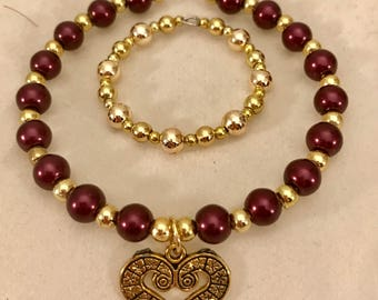 American Girl Sized Choker Necklace and Bracelet with Burgundy pearls  Gold beads and a Gold Charm