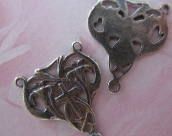 Sterling Rosary Center Connector Religious Rosary Supplies Cross and Lilies S256LS