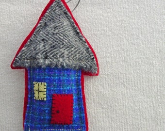 Ornamental Wool House - Felted Wool - Blue Red Grey - Machine and Hand Stitching - Red Door Welcome - Room Decor - Felt Art - Pincushion