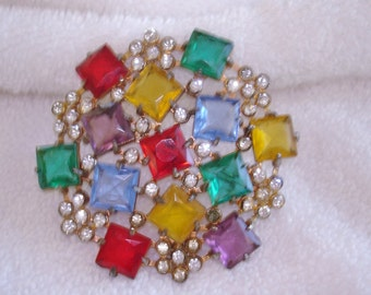 Multi Color Rhinestone Brooch Gold Tone