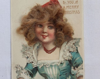 Post Card Girl with Real Hair Merry Christmas Germany VINTAGE by Plantdreaming