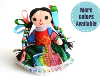 Small Handmade Mexican Rag Doll, Mexican Doll, Rag doll, Gift for little girls, Cotton Doll, Gift for girls, Gift for her, Gifts Under 20
