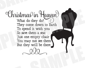 SVG Commercial/Personal Christmas in Heaven Memorial Remembrance Silhouette Cameo Cut File