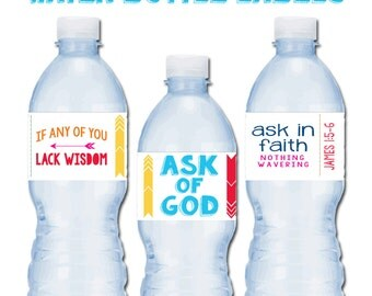 2017 Young Women Theme water Bottle Label, Printable, LDS Mutual Theme, Ask in Faith, Mormon, Personal Progress Party