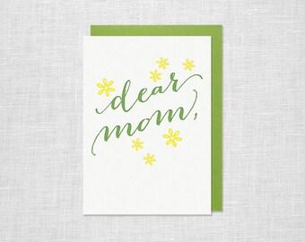 Letterpress Mother's Day Card - Dear Mom
