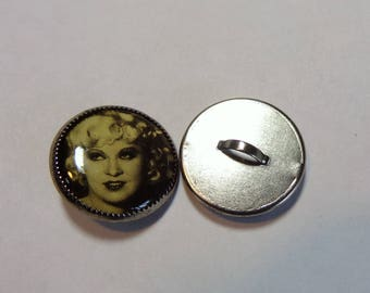 Set of 2 Mae West - Round, Metal, Shank Button, Sewing, Craft or Jewelry supply, Collectible