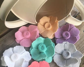 Hand Cut Felt Daisy Flower Hair Clips YOU PICK 2 COLORS - Perfect for Kids, Teens and Adult Women