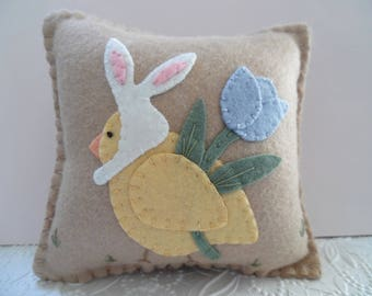 Easter Chick Pillow Felt Bunny Ears Spring Penny Rug Primitive Felted Wool