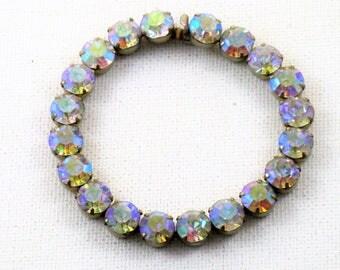 Vintage Aurora Borealis Crystal Rhinestone Bracelet (BR-4-1)