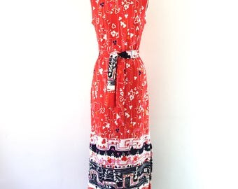 Vintage Red Floral Geometric Mod Print Dress 1960s 1970s Maxi Sleeveless Sheath Dress S/M