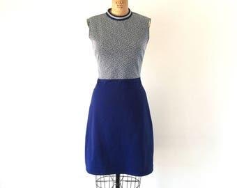 Vintage 1960s Mod Dress Navy Blue Colorblock Sleeveless Turtleneck Scooter Dress S