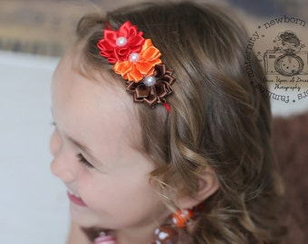 Autumn Headband, Ombre Headband, Baby Headband, Thanksgiving Bow, Baby Headband, Baby Hair Accessory, Orange, Red and Brown Headband