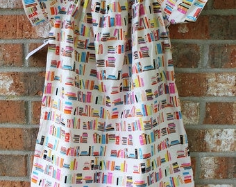 Reading Rocks Book Girl Power Dress Cream Turquoise Pink Girl's Summer Party Dress Size 6 Ready to Ship