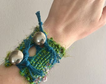 Handwoven Recycled Silk & Cotton Cuff Bracelet / blue / green / repurposed / sustainable / adjustable / silver / multicolored / wide