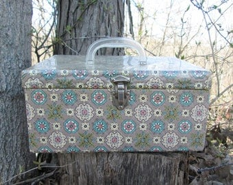 Vintage Sewing Box Quilted Floral Fabric Cover with Plastic Handle and Filled with Sewing Notions
