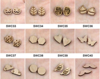 ALL Design - 4pcs DIY Laser Wooden Charms (PP) (SWC01--SWC70)