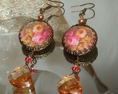 Victorian roses image bead charm cabochon Picasso beads  earrings Sacred Jewelry Pamelia Designs