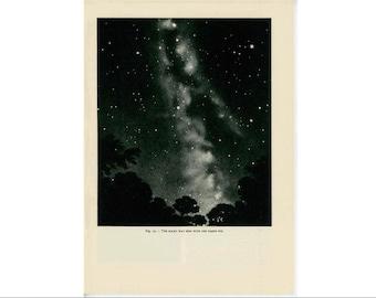 1959 MILKY WAY LITHOGRAPH - original vintage print - celestial astronomy galaxy print