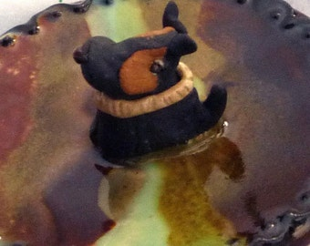 Black and Brown Puppy Dog Jewelry Tray or Teaspoon rest