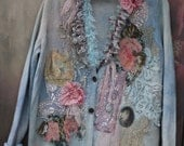 Winter morning cardi- big oversize, bohemian romantic , altered couture, embroidered and beaded details,old laces