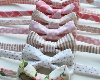 Little and Big Guy BOW TIE - Rose Gold Blush Pink Collection - (Newborn-Adult) - Baby Boy Toddler Teen Man