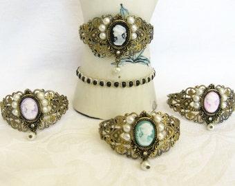 Cameo Cuff Bracelets, Cuff Bracelets, Cameo Bracelets, Victorian Cuff Bracelets, Victorian Lady Cameo Cuff Bracelets, B-225, B226, B227,B228