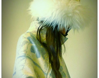 White Sheepskin Trim Tibetan Lama Style Upcycled Hat                      Made in England UK