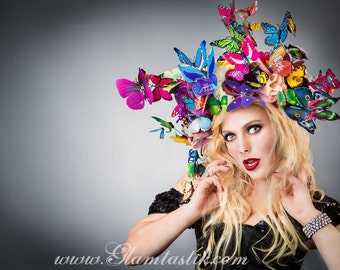 Ready to ship Butterfly and Rose floral wreath Crown Halo Burlesque headpiece Ready to Ship