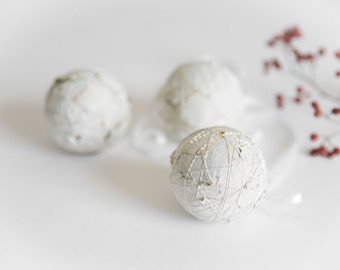 White Christmas Ornaments - Christmas Tree Ornaments - Christmas Ornament Set - White Christmas Balls Ornaments