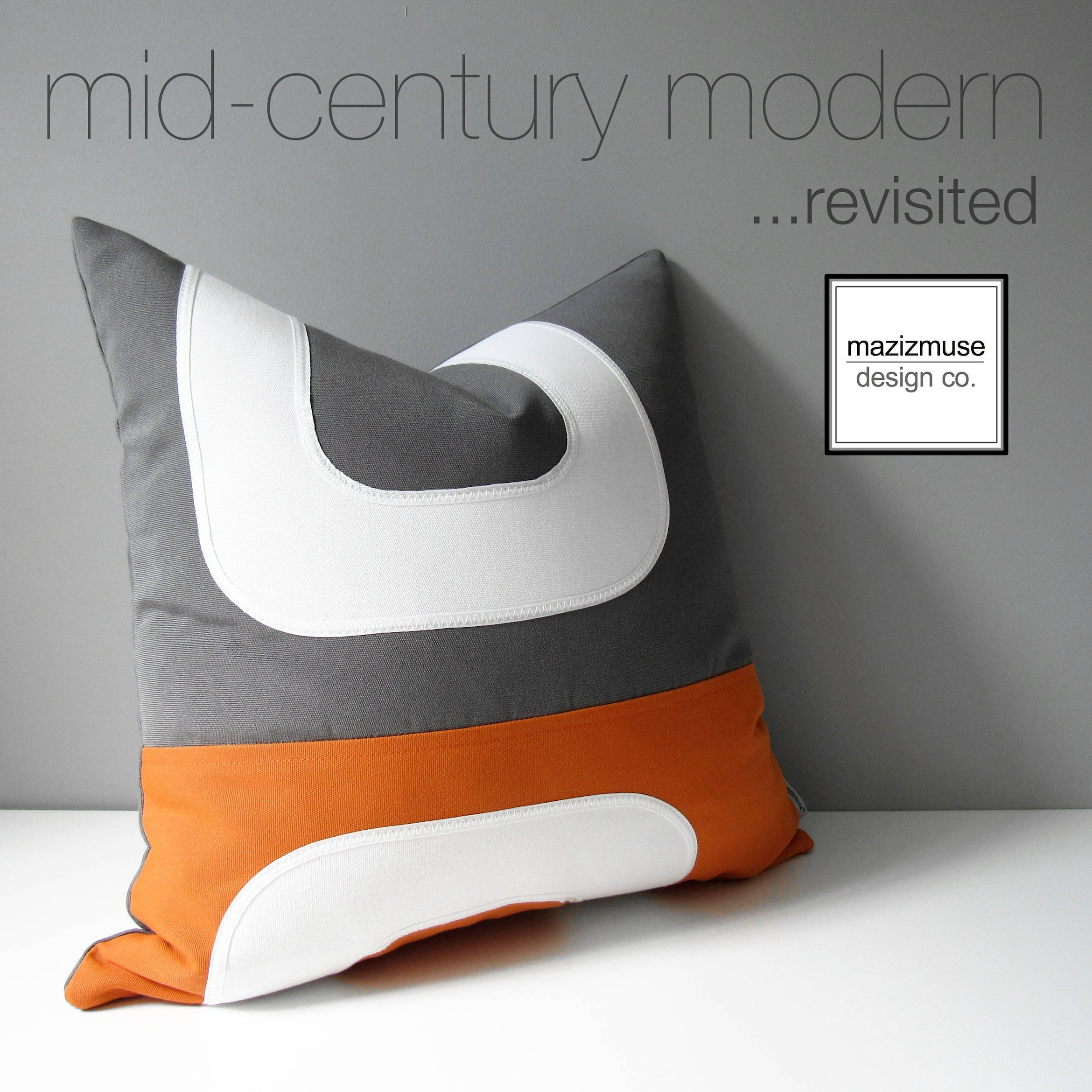 Mid Century Outdoor Pillows : Orange & Grey Outdoor Pillow Cover Decorative Mid Century