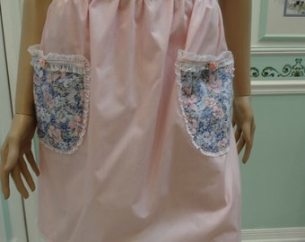 DESIGNER, NEW SPRING,Half Apron, pink with blue floral trim pockets and waistband, Lace trim,long ties