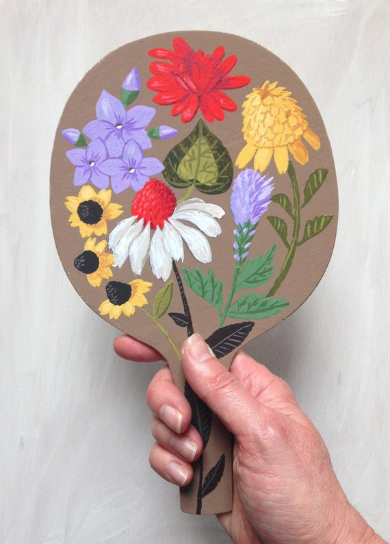 Original painted bat: A Spring Floral