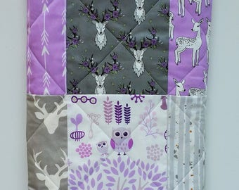Baby Girl Crib Bedding Quilt-Rustic and Woodland Quilt-Deer-Buck-Antler-Arrows-Lilac-Lavender-Purple Baby Blanket-Handmade
