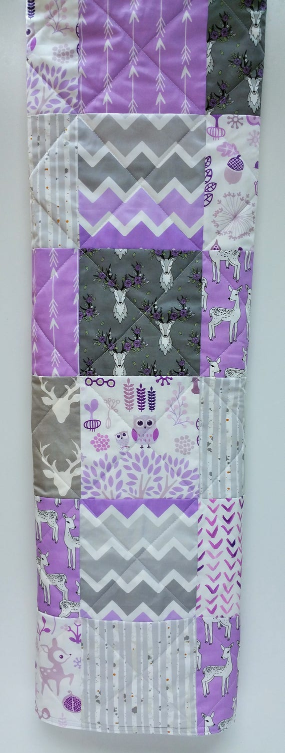 Baby Girl Crib Bedding Quilt-Rustic and Woodland Quilt-Deer-Buck-Antler-Arrows-Lilac-Lavender-Purple Baby Blanket-Handmade