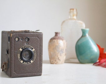 Vintage Camera, Coronet Rex Box From England, Art Deco, Rare Brown Color, Studio or Man Cave Decor, Faded And Worn