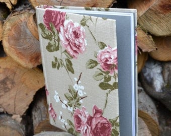 Writing Journal /  Handmade Sketchbook / Handmade Journal / Unique Journal /  Notebook /  Diary /  A5. 8 x 6 inch from linen Roses