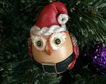 Folk Art Vintage Santa Owl Decor OOAK Primitive Woodland Christmas Egg Ornment