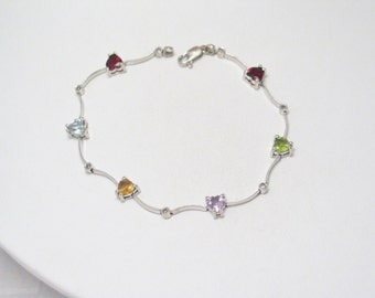Dainty 10kt White gold heart bracelet gemstone diamond accent garnet topaz citrine amethyst peridot heart tennis cuff bangle bracelet